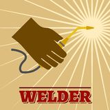 Welder retro poster Royalty Free Stock Image