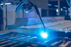 Welder robot Stock Photo