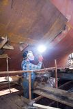 Welder at shipyard Stock Photography