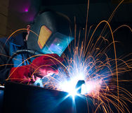 Welder with sparks Stock Photography