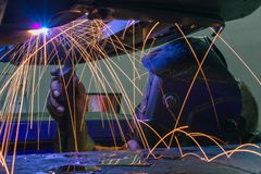 Welder and sparks Royalty Free Stock Image