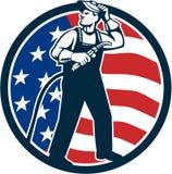 Welder Standing Visor Up USA Flag Circle Retro Stock Photos