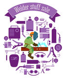 Welder stuff sale set. The welder in an environment of working tools Royalty Free Stock Photo
