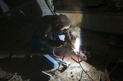Welder and tools on building site Royalty Free Stock Images