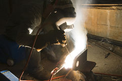Welder and tools on building site Royalty Free Stock Photography