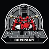 Welder wearing welding helmet pose in badge. Vector of welder wearing welding helmet pose in badge stock illustration