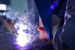 Welder welded metal constructions Royalty Free Stock Photos