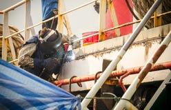 Welder welding bridge pier Stock Images