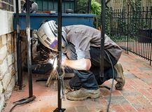 Welder Welding Clamped Post Royalty Free Stock Images
