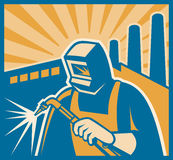 Welder Welding Factory Retro Woodcut Stock Photo