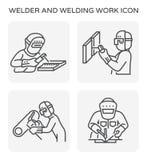 Welder welding icon. Welder and welding work icon set Stock Photos