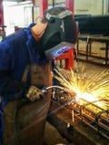 Welder welding rebar construction. Welder welding rebar for construction, metal, iron, rebar steel, industrial, industry, worker Stock Images