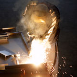 Welder with welding sparks Royalty Free Stock Photos