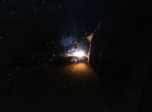 Welder Welding Sparks  steel in factory. Bodypart Royalty Free Stock Photo