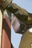 Welder welding steel beam Stock Photo