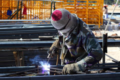 Welder welding  steel Royalty Free Stock Images