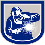 Welder Welding Torch Front Shield Retro. Illustration of welder worker working using welding torch viewed from front holding his visor set inside shield crest Stock Image