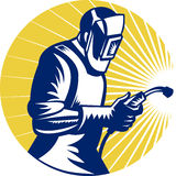 Welder welding at work retro style Royalty Free Stock Photography