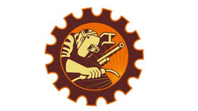 Welder Welding Worker Cog Gear. 2d animation of a welder welding set inside cog gear done in retro style on white background stock illustration