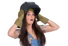 Welder woman Stock Photo