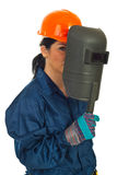 Welder woman stock images