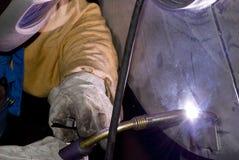 Welder at work. (Industrial photo Stock Photo