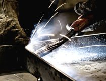 Welder at work. (Industrial photo Royalty Free Stock Images