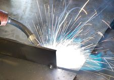 Welder at work. (Industrial photo Royalty Free Stock Photos