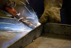 Welder at work. (Industrial photo Stock Photography