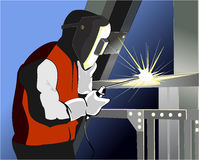 Welder at work. Vector illustration of welder at work Stock Photography