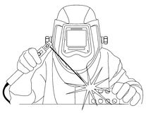 Welder at work. Vector illustration of a welder at work Stock Photo
