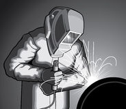 Welder at Work. Illustration of a welder welding Royalty Free Stock Photos