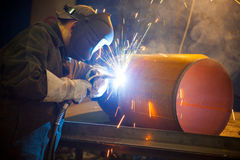Welder at work Stock Images