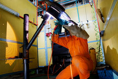 Welder at work. With safety procedure Royalty Free Stock Images