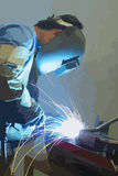 Welder at work. Welder with protective mask working. Vector graphics, unlimited enlargement possible Royalty Free Stock Image