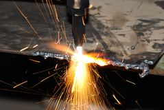 Welder at work. A metal welder busy at work Royalty Free Stock Photography