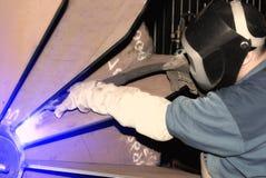 Welder at work. Industrial image welder at work royalty free stock photos