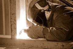 Welder at work. Industrial image welder at work Royalty Free Stock Photos