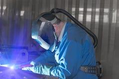 Welder at work. Industrial image welder at work Royalty Free Stock Image