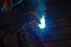 Welder at work for close-up work, joining parts with welding. Welder at work for close-up work, joining parts with welding Stock Photos