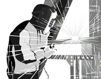 Welder at work.grunge style vector. Welder welding metal with bright sparks. grunge style vector Stock Photography