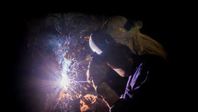 Welder work hard. At factory in Thailand Royalty Free Stock Photo