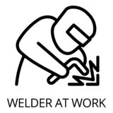 Welder at work icon, outline style royalty free illustration