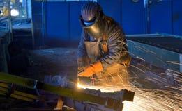 Welder work inside of plant. Welder work inside of construction plant Stock Image