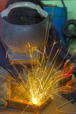 Welder at work. On location Stock Image