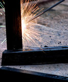 Welder at work, welding sparks Royalty Free Stock Photography