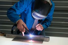 A welder at work royalty free stock photos