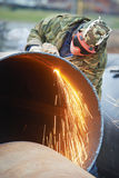 Welder worker with flame torch cutter Stock Photos