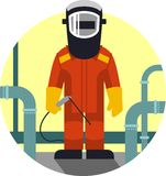 Welder worker in flat style Royalty Free Stock Image