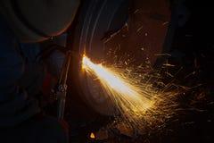 Welder worker is welding Royalty Free Stock Photos